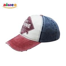 AIUEO Topi Pria Wanita Fashion Outdoors Unisex Letter Retro Fashion Vintage Caps Baseball Golf Cotton Adjustable Headpiece Shine - Merah Putih Biru