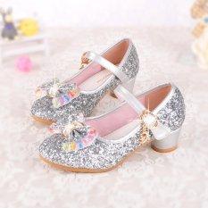 Ajusen Baju Anak Girls High Heels untuk Party Sequined Kain Biru Pink Sepatu Ankle Strap Ratu Salju Anak Perempuan Pompa Sepatu-Intl