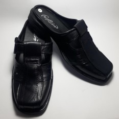 Akas Sepatu Sandal Selop Pria Trendy Kulit Asli 100% - Hitam