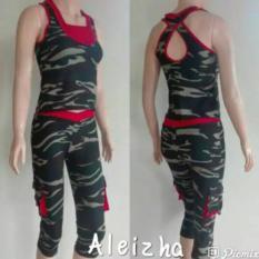 Aleizha Set Baju Senam Celana 3/4 - Army