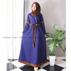 Alona Baju Hijab Pashmina Gamis Fashion Katun Ima - Biru Navy