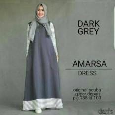Amarsa Grey / Dress Muslimah / Gamis / Baju Menyusui / Grosir Hijab