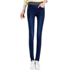 Amart Fashion Musim Semi Musim Gugur Wanita JEAN Celana Elastis Pinggang Tinggi Celana Denim Slim Kasual Pensil Plus Ukuran (Deep Blue) -Intl