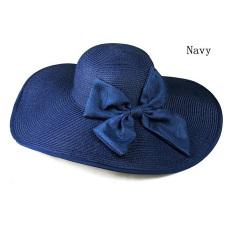 Amart Wanita Fesyen Topi Musim Panas dengan Pita Visor Besar Jerami Topi Pantai Pelindung Matahari (Biru)-Intl