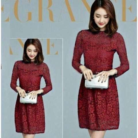 Anami Fashion Pakaian Wanita - Dress Chyntia Lace Maron