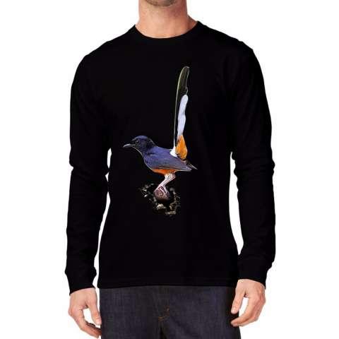 Apparel Glory Kaos 3D Burung Murai Batu Lengan Panjang Hitam