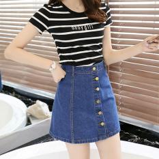 Artis Koboi Model Sama Tunggal Gesper Pinggang Tinggi Pendek Rok Rok Jeans (Biru Tua Warna) baju wanita rok