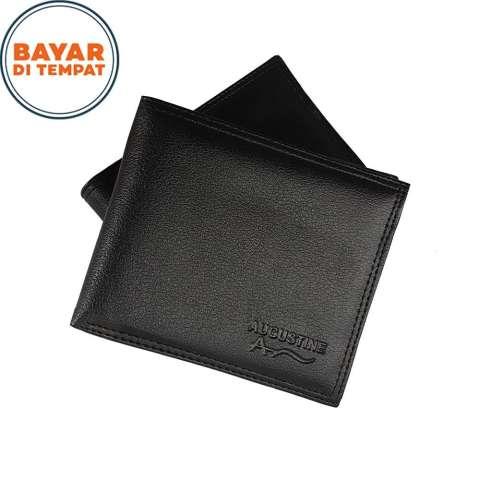Dompet Pria AGT002# Dompet Wanita Dompet Kartu Dompet 3/4 Lipat Dua Material PU Leather Size 6 Inchi Fashion Wallet - Black