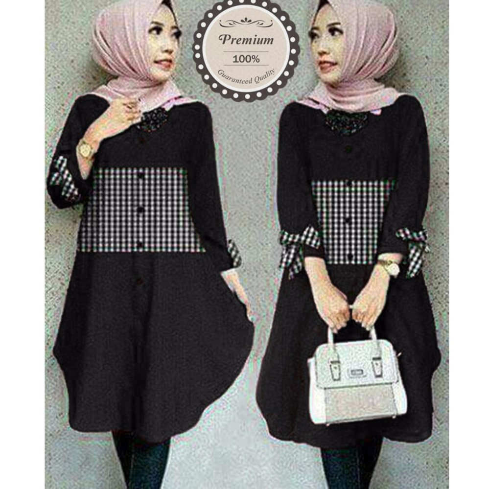 Jahitan rapi Ayako Fashion Tunik Zoya - (Black)