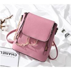 Korean Fashion Style Babosarang Tas Batam Ransel Selempang Backpack Wanita Cewek Korea Fashion Multifungsi Bahan PU Leather