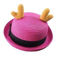 Baby Bucket Hat Lovely Reindeer Horn Sun Cap for Boys & Girls - Rose Red - intl