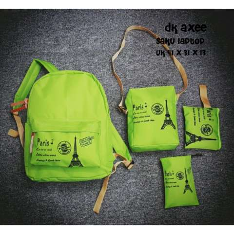 Backpack 4 in 1 Paris Backpack Tas Ransel Sling Bag Tas Selempang Pouch .
