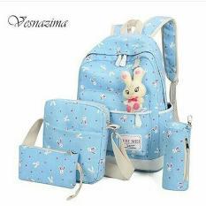 Backpack Bunny 4 in 1 Warna Biru Tosca / Tas Sekolah / Tas Selempang / Tas Batam