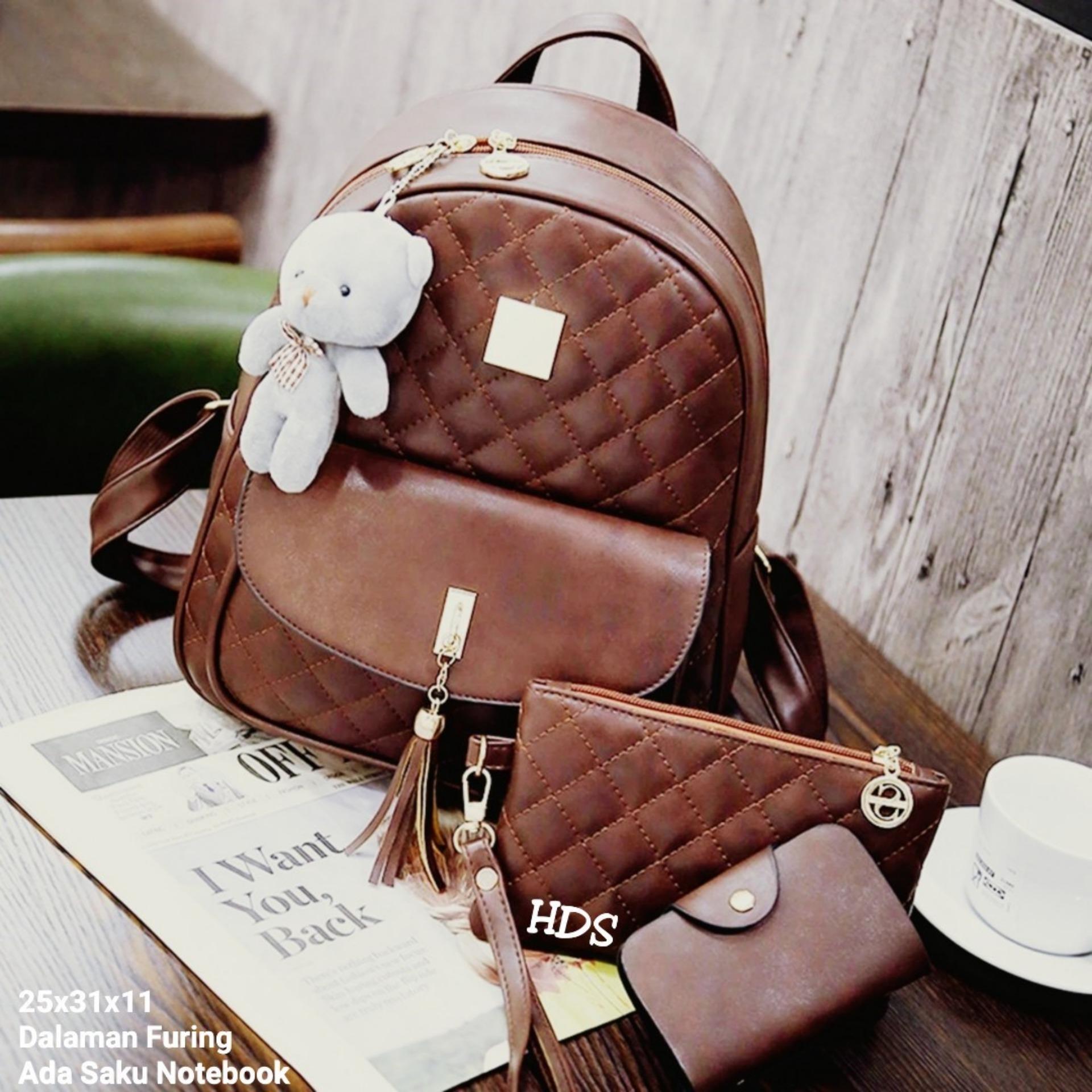 Beli Murah Backpack Korean Style Embossed Tassel 3 In 1 Tas Sekolah 3in1 Ransel Pouch