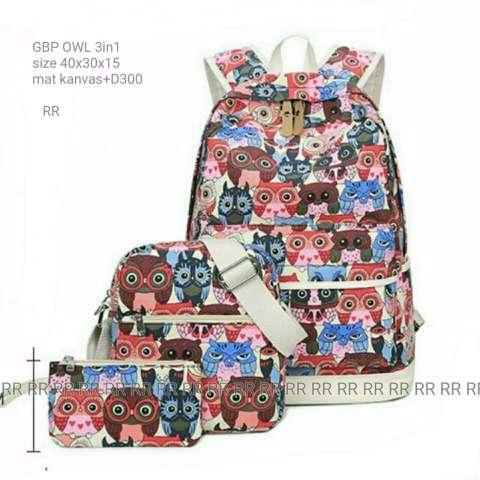 universal tas fashion wanita tote bag canvas-rainbow. Source · Backpack owl 3 in