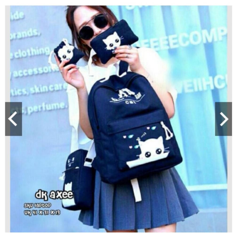 Backpack ransel 4in1 canvas cat tas laptop sekolah kuliah kerja anak remaja cewe wanita murmer