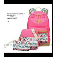 Backpack Set 3 in 1 Tribal Deer (Backpack / Tas Ransel 3 in 1, Sling Bag / Tas Selempang, Pouch / Dompet) Pink