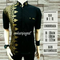 Baju batik Anjani/kemeja/ Hem batik pria/Fashion lengan pedek/Baju pria kombinasi motif jarum gold