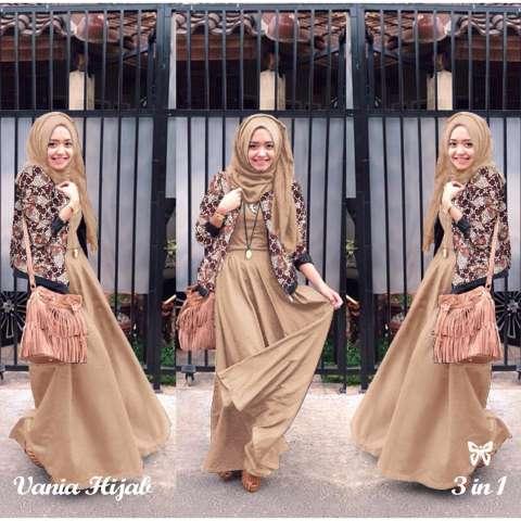 Baju Gamis Muslim Syari Fashionable - Gamis Vania Batik mocca