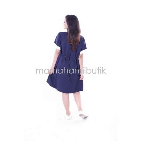Baju Hamil Dress  Kerja Menyusui Modis - Biru Donker 2