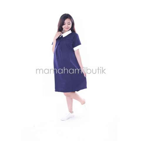Baju Hamil Dress  Kerja Menyusui Modis - Biru Donker 1