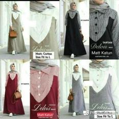 Baju Katun / Gamis Hitam / Dress Busui Murah / Hijab : Delois Maxy