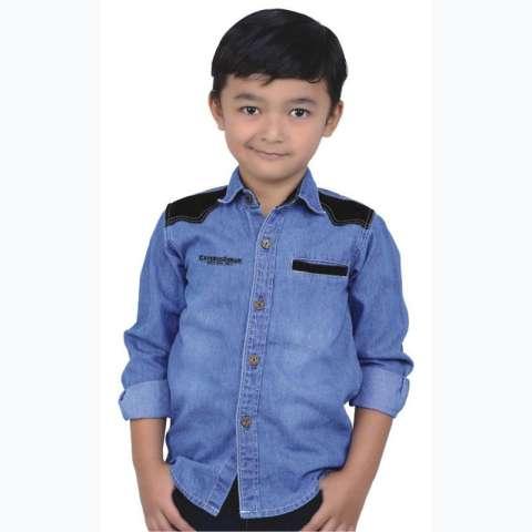 Baju Kemeja Denim Jeans Anak Laki-Laki Cowok Lengan Panjang CMT 031 CR