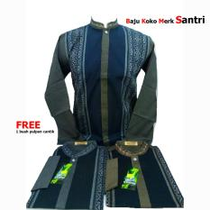Baju Koko Lengan Panjang Pria Murah - Bordir - Bahan Katun Bagus Halus