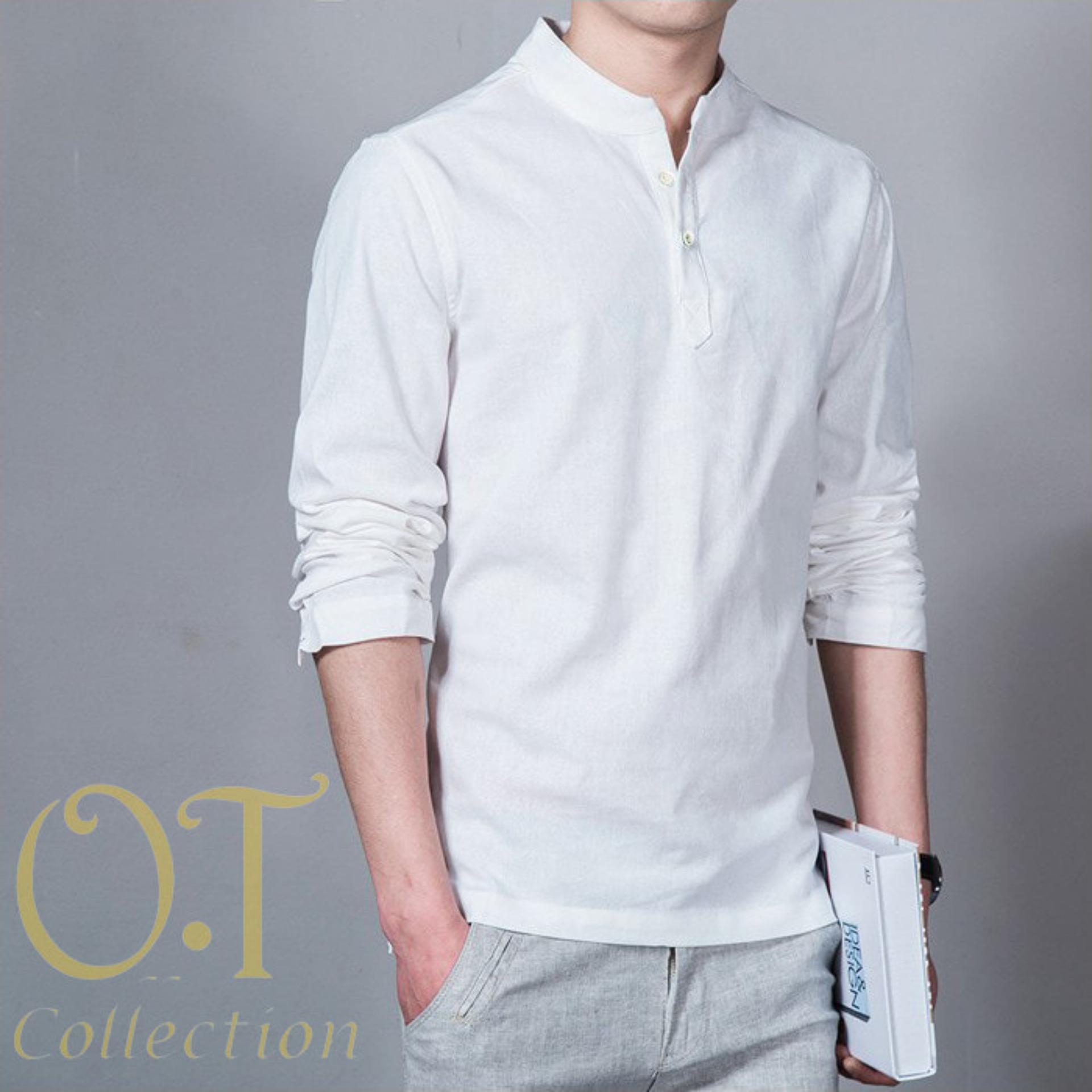 Baju Koko Pria Katun Twill Lengan Panjang Putih