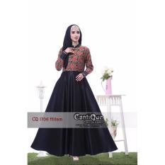 Baju Lebaran Gamis Muslim Pesta Nyaman untuk Ibu Hamil dan Menyusui CQ 1706 Hitam