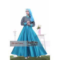 Baju Lebaran Gamis Muslim Pesta Nyaman untuk Ibu Hamil dan Menyusui CQ 1706 Tosca