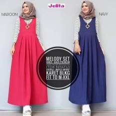 Baju Melody Setelan Iner + Overall Baloteli Maxi Modern Cewek Gamis Panjang Hijab Casual Pakaian Wanita Murah