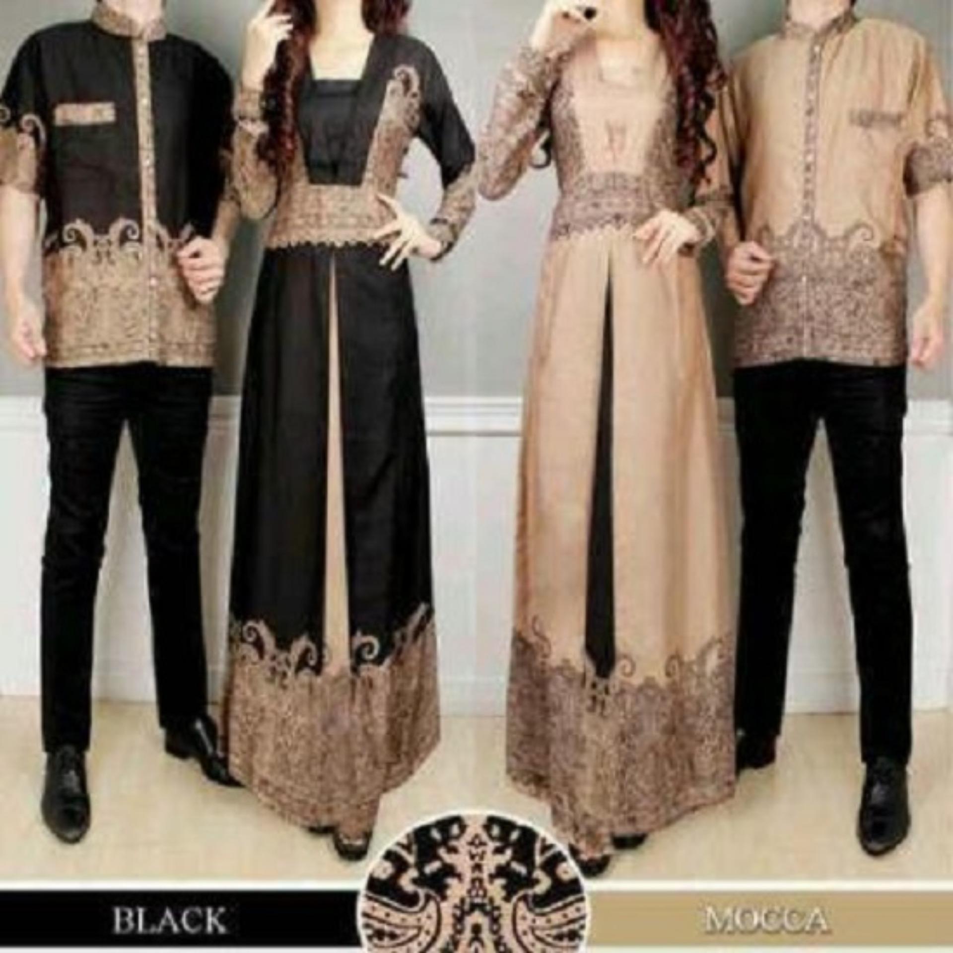 Baju line Pakaian Couple Muslim Batik Modern Sarimbit Keluarga Kemeja Koko Pria Lengan Pendek
