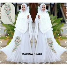 Baju Online 12588 Pakaian Muslim Wanita Terbaru Gamis Syari Putih Maxi Dress Dewasa Busui Lengan Panjang Polos Murah Bahan Sifon Syar'i Jilbab Kerudung Syarii