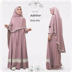 Baju Original Adeline Syari Dress Wolfis Gamis Panjang Hijab Casual Pakaian Wanita Hijab Modern Warna Dusty Milo
