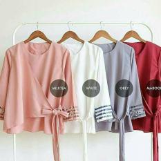 Baju Original Blouse Almia Top Blouse Wolfice Baju Atasan Wanita Muslim Panjang Pakaian Kerja Santai Casual Modern Modis Trendy Warna Grey