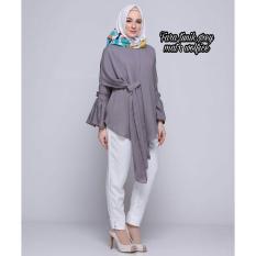 Baju Original Blouse Fara Tunik Wolfice Baju Panjang Wanita Muslimah Pakaian Hijab Modern Casual Simple Trendy Warna Grey