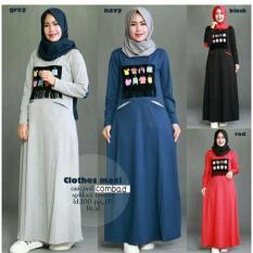 Baju Original Clothes Maxi Dress Gamis Muslimah Syari Baju Panjang Wanita Hijab Trendy Pakaian Cewek Modern Navy
