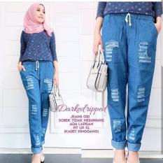 Baju Original Darked Ripped Pants Jeans Ori Celana Panjang Wanita Muslim Bawahan Cewek Hijab