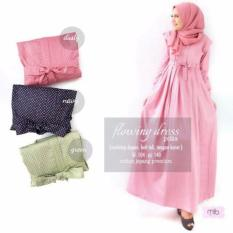 Baju Original Dress Flowing Polka Gamis Baju Panjang Casual Wanita Hijab Baju Pesta Modern Trendy Warna Navy