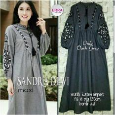 Baju Original Dress Sandra Dewi Maxi Gamis Baju Panjang Casual Wanita Hijab Baju Modern Trendy Warna Dark Grey
