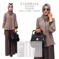Baju Original Endo Moda 3G-23 SetelanWanita Baju Muslim Modern Gamis Katun Supernova Premium WarnaBrown