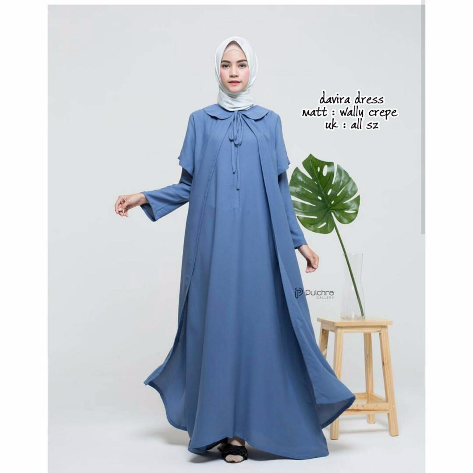 Model Elegan Baju Original Gamis Davira Dress Baju Panjang Casual Wanita Hijab Baju Modern Trendy Warna Denim