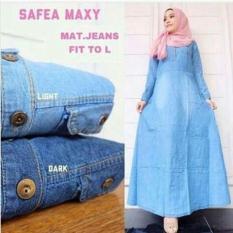 Baju Original Gamis Safea Maxi Jeans Dress Gamis Pakaian Panjang Muslim Modern Modis Trendy Warna Dark