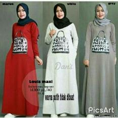 Baju Original Louis Maxi Dress Gamis Muslimah Syari Baju Panjang Wanita Hijab Trendy Pakaian Cewek Modern Grey