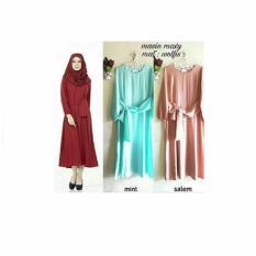 Baju Original Mavin Maxi Gamis Dress Wolfice Gaun Pesta Panjang Baju Hijab Terusan Pengajian Wanita Muslimah Warna Salem