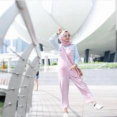 Baju Original Overall Pocket Supernova Stelan Wanita Muslimah Celana Joger Panjang Casual Pink