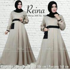Baju Original Reina Dress Gamis Wolfice Gaun Pesta Panjang Baju Hijab Terusan Pengajian Wanita Muslimah Warna Milk Tea