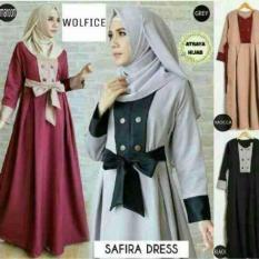 Baju Original Safira Dress Hijab Fahrani Wolfice Gaun Pesta Panjang Baju Hijab Terusan Pengajian Wanita Muslimah Warna Mocca
