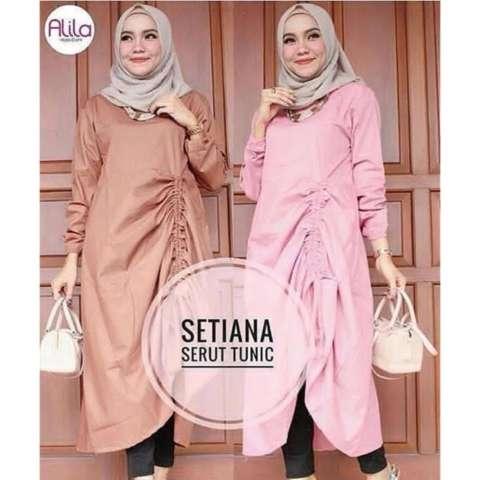Baju Original Setiana Serut Tunik Balotelly Baju Atasan Wanita Muslim  Panjang Pakaian Kerja Santai Casual 0c3023ea9b